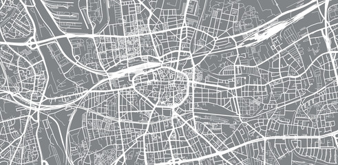 Urban vector city map of Dortmund, Germany