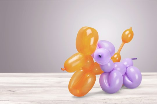 Two balloons in shape of animals on