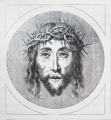 Portrait of Jesus Christ by Quentin Matsys engraved in a vintage book History of Painters, author Jules Benouard, 1864, Paris