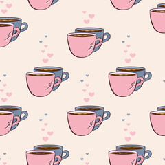 Vector seamless pattern with two cups of coffee and hearts. Creative background for cafe or restaurant menu, wrapping paper, design banner, invitation. EPS10. Can be used as print on clothes.