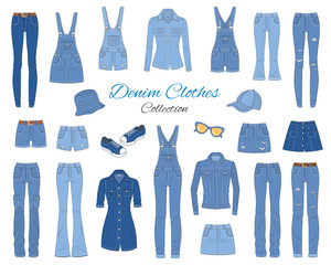 Denim clothes collection. Vector sketch illustration.