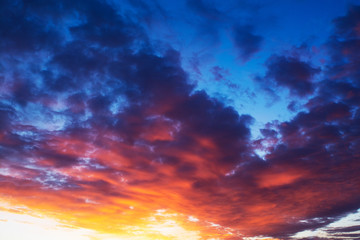 dramatic sunset in the sky. combination of cold and warm shades
