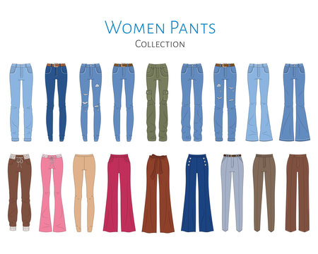 Women's pants collection, vector  illustration.