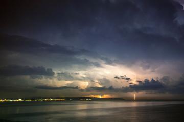 Thunder storm, Lightning  over the sea
