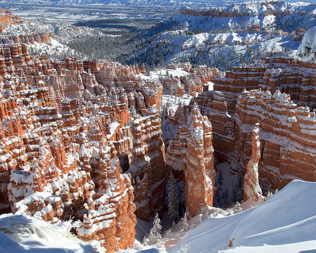 Winter Snow in Bryce Canyon National Park, Utah