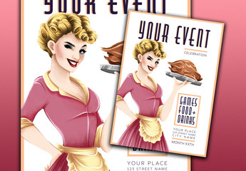 Event Flyer Layout with a Retro Illustration