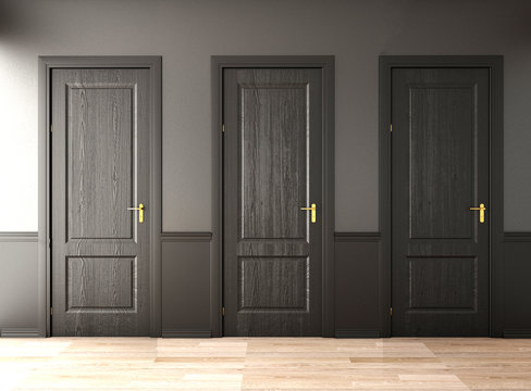 3 doors , the way choice to the freedom or solution,3d rendering,3d illustration