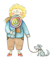 The boy lick lollipop and walks with the dog isolated on white background. Watercolor hand drawn illustration