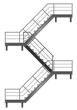 Drawing of the fire escape for the facade