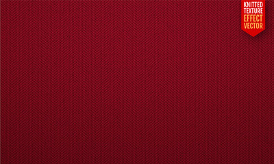 Red realistic knit texture vector seamless pattern. Vector illustration