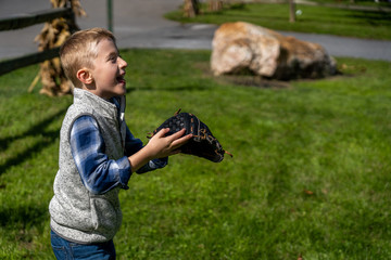 boy with baseball and glove. Playing baseball in a park day time