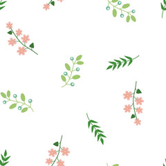 Vintage floral seamless pattern with flowers, leaf. Floral vector background. Delicate pink green on white.
