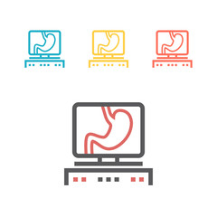 Human Organ Stomach Line Icon on the monitor.