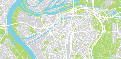 Urban vector city map of Duisburg, Germany