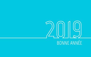 Carte de vœux 2019 - Bonne Année turquoise
