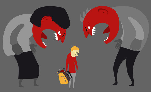 Abusive parents yelling at a child, EPS 8 vector illustration