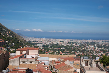 Palermo, Italy - September 11, 2018 : View of Palermo from Monreale