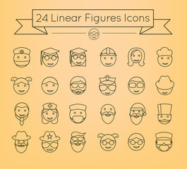 People Faces inear icon set