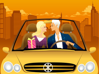 Couple kissing in convertible car at dusk