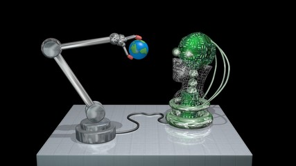 Robot arm holding ball, Earth globe, examines it with AI head, eyes. 3d render