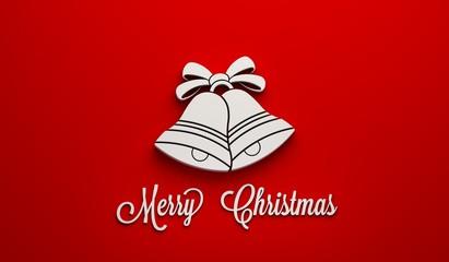 White Christmas Bells. 3D Render Illustration