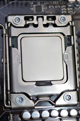 processor CPU installed in the slot on the motherboard