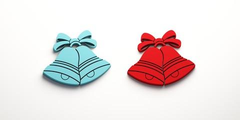 Blue Red Christmas Bells. 3D Render Illustration