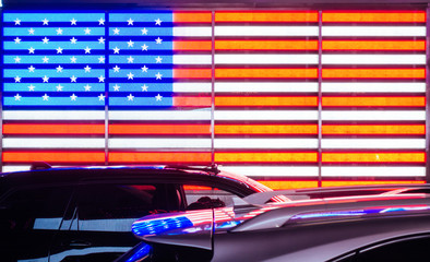 Fond de hotte en verre imprimé New York City American neon flag in New york city