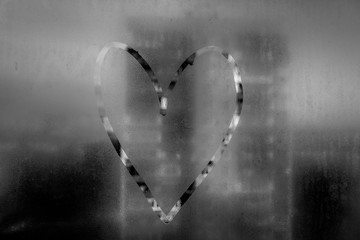 Heart painted on misted glass. 2