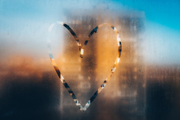 Heart painted on misted glass. 1