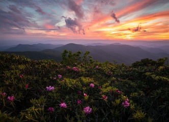 Scenic view of Blue Ridge Mountains during sunset