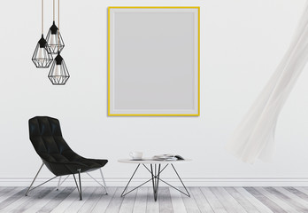 mock up poster frame in hipster interior living room, 3D render