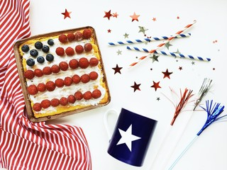 American flag cake decoration on white background during fourth of July