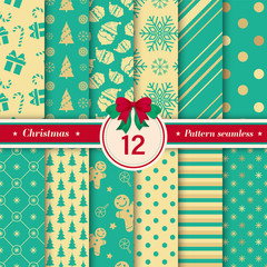 Türaufkleber Künstlich Merry Christmas pattern seamless collection. Set of 12 X-mas winter holiday background. Endless texture for gift wrap, wallpaper, web banner background, wrapping paper and Fabric patterns.