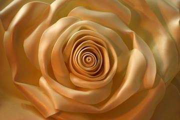Light artificial bud of a rose./White petals of an artificial rose at natural lighting got cream tones.