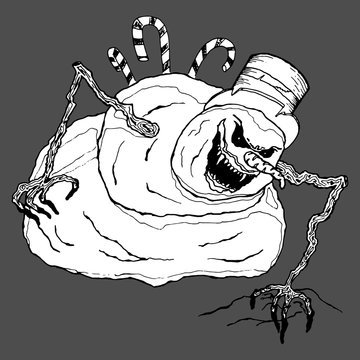 Angry snowman. Vector illustration of a terrible, evil snowman. Hand drawn evil snowman.
