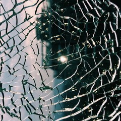 Close up of broken windshield