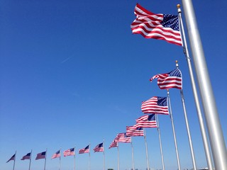 American flags against blue sky
