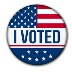 I Voted button with the USA flag.