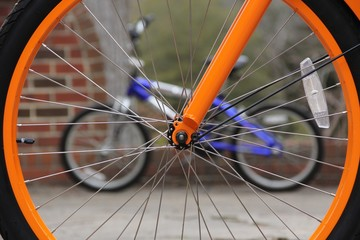 Close up of spokes of a bicycle