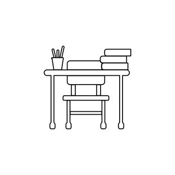 school desk icon. Simple outline vector of education set for UI and UX, website or mobile application