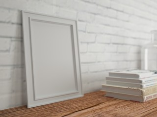 Empty frame on wooden table. Bricks wall and books. 3d rendering