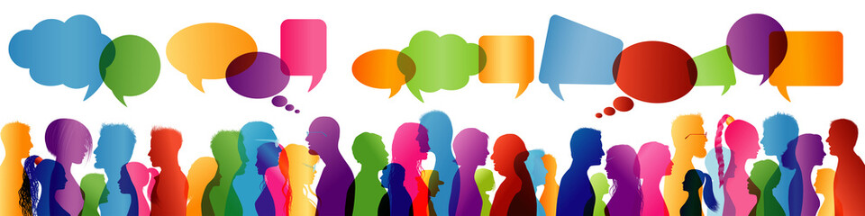 Crowd talking. Group of people talking. Communication between people. Colored profile silhouette. Speech bubble Wall mural