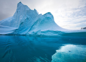 View of icebergs in Scoresby Sound in eastern Greenland