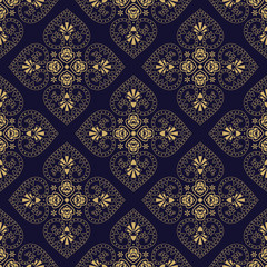 Vector Floral oriental seamless vector pattern.  Beautiful wallpaper and curtains.