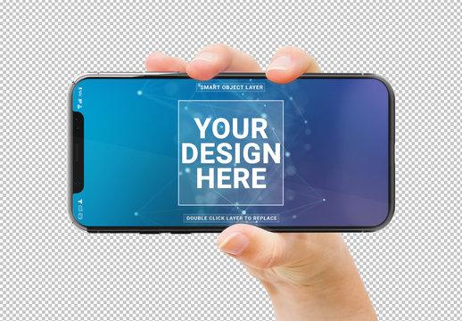 User Holding Smartphone Isolated Mockup