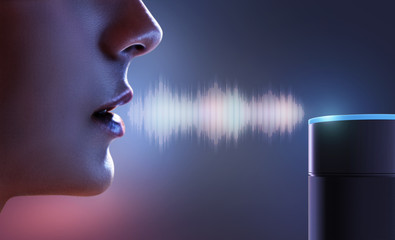 Frau spricht zu Sprachassistent