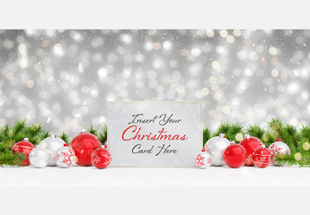 Card Mockup with Holiday Decorations