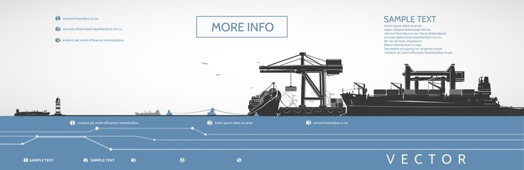 Container ships on the dock and bulk carriers, gantry cranes, vector infographics.