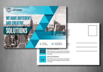 Business Postcard Layout with Blue Accents